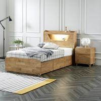 플라망 디미트 원목 LED 조명 콘센트 침대 슈퍼싱글