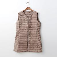 Round Puffer Zipper Long Vest - 경량
