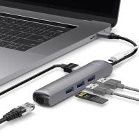 6IN1 이더넷 HDMI USB-C타입 멀티허브