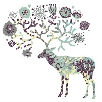 DIY 명화그리기키트 - 초록 꽃사슴 25x25cm (물감2배, 컬러캔버스, 명화, 동물, 사슴, 꽃사슴)