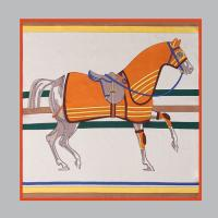Silk Dark Horse Square Petit Scarf