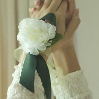 브라이덜샤워 꽃팔찌-화이트 리시안