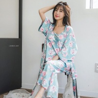 [쿠비카]빅 플라워 샤무즈 3피스 커플잠옷 WM100