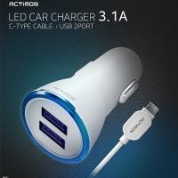 엑티몬 USB 2포트 차량용충전기 C타입 2.4A