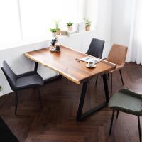 [채우리] 모두 와이드 4인 뉴송 우드슬랩 식탁세트(의자)