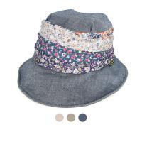 [디꾸보]잔꽃 치프 배색 버튼 린넨 페미닌 모자 AC254