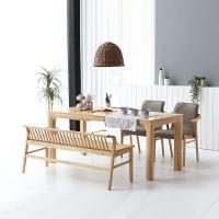 휴치 고무나무 원목 와이드 식탁 세트 4인용 벤치형 A