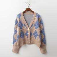 Wool Argyle Mini Cardigan