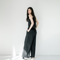 GAUZE LOOSE PANTS_BLACK