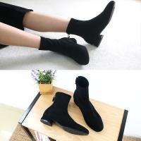 [애슬릿]발 편한 둥근코 스웨이드 삭스 부츠 3cm