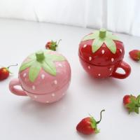 딸기 뚜껑 머그
