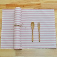 핑크 스트라이프 방수식탁매트