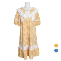[쿠비카]자수 레이스 케이프 원피스 여성잠옷 W715
