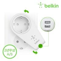 벨킨 2.4A 2포트 스위블 멀티충전기+콘센트 F8M102kr