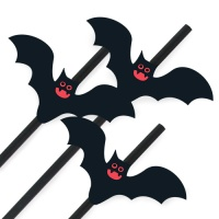 [인디고샵] 할로윈 빨간눈 박쥐 스트로우 (4개)