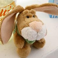 빈백키링-토끼(키링 꽃무늬)8센티-브라운