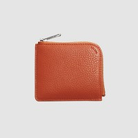 Leather Round wallet - Orange