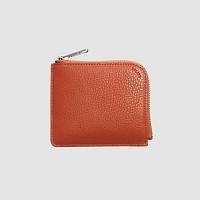 Leather Round wallet - Orange