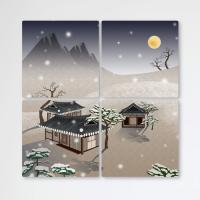 tb658-멀티액자_눈을맞는한옥풍경