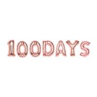 알파벳은박풍선세트 (100 DAYS) 로즈골드