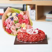 뚜레쥬르 딸기케익+비누꽃일루션다발(꽃배달,케익배달,케익,생일선물)