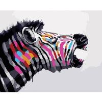 DIY 명화그리기키트 - 판타스틱 얼룩말 40x50cm (물감2배, 컬러캔버스, 명화, 동물, 판타스틱, 얼룩말, 지브라)