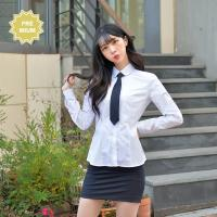 프리미엄 둥근카라 파랑체크 스판 여성 화이트 셔츠