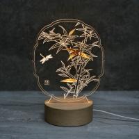 대나무 자개  LED 무드등 (투명/블랙)