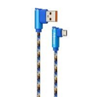 직각형 USB 충전 케이블 Micro 5핀 1M(블루)(10109)