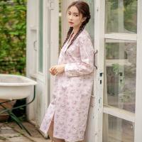 테라우드 여성용 로브 코튼 플라워 원피스 잠옷