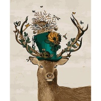 DIY 명화그리기키트 - 숲속모자 사슴 40x50cm (물감2배, 컬러캔버스, 명화, 동물, 사슴, 모자)