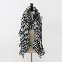 Gingham Check Frill Long Scarf