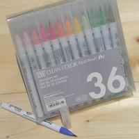 [Kuretake] 천연모 브러쉬팁의 캘리그라피,수채화붓..일본 쿠레다케 지그 Clean Color Real Brush 36색 Set HF132-4