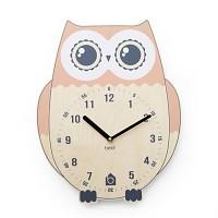 [BEZIT] RICH OWL Wall Clock(PINK 무소음벽시계)
