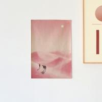 핑크사막 일러스트 패브릭 포스터 / 가리개 커튼