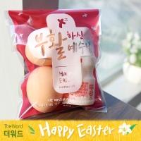 부활절 달걀 2구 접착비닐 (25개)_십자가(레드)