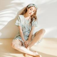 [쿠비카]순면투피스 반팔 5부팬츠 여성잠옷 W475