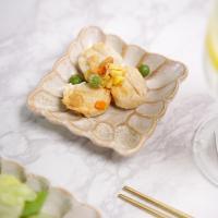 시노 빈티지 꽃그릇 정사각 접시 소