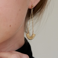 half kniting chain earring