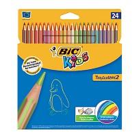 BIC 빅 키즈 스트라이프 색연필 24색