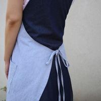 [6ways wrap dress]인디고진/스트라이프