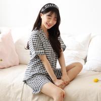 테라우드 여성용 빅 체크 원포켓 반팔 잠옷 상하세트