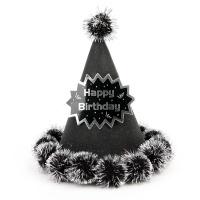 글리터 솜방울 생일고깔모자 (블랙)