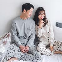 [쿠비카]옆트임 도트베어 투피스 커플잠옷 WM131