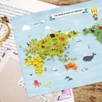 [기성]세계지도A3 동물 랜드마크