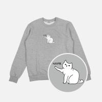 차도냥 기모 맨투맨 티셔츠-그레이