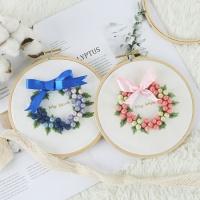 자수의온도 프랑스자수패키지 DIY 꽃방울 리스
