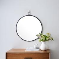 우드 카운티 링고리 원형 모던 벽거울 420-블랙