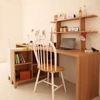 [모아이] 로티 2단책장+책상 세트(2단책장+ㄱ자 상판)
