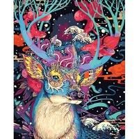 DIY 명화그리기키트 - 신비 사슴 40x50cm (물감2배, 컬러캔버스, 명화, 동물, 신비, 사슴)